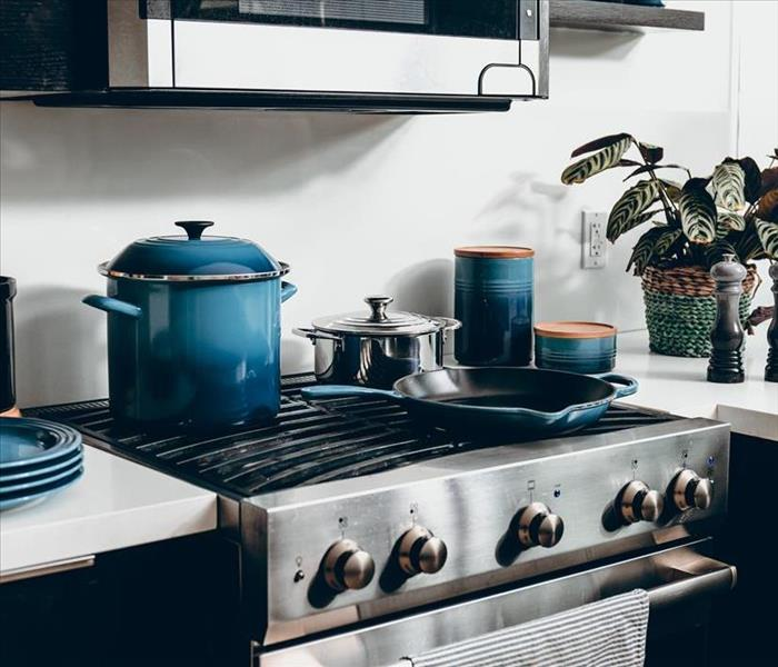 kitchen with pans on stove